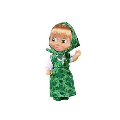Papusa Simba Masha and the Bear 12 cm Masha in rochie verde