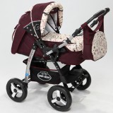 Carucior Baby Merc Junior 2 in 1 dark red flowers