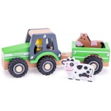 Jucarie New Classic Toys Tractor cu trailer si animale