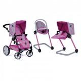 Carucior pentru papusi ICoo Grow With Me 2 in 1 dot pink grey