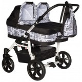 Carucior Pj Baby Pj Stroller Twins 3 in 1 black