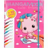 Set carte de colorat cu carioci Depesche Manga