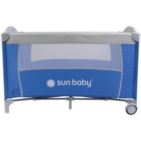 Patut pliabil cu un nivel Sun Baby Sweet Dreams albastru