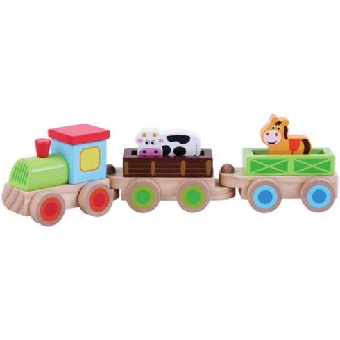 Trenulet din lemn Sun Baby cu animale