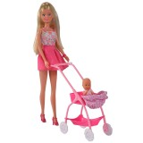 Papusa Simba Steffi Love Baby Walk 29 cm roz cu carucior si accesorii {WWWWWproduct_manufacturerWWWWW}ZZZZZ]