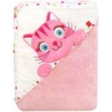 Prosop cu gluga Bobobaby 76x76 cm pisicuta roz