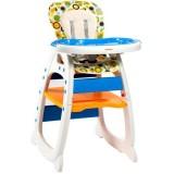 Scaun de masa Kidcity Baby Place Mamakids multifunctional albastru cu portocaliu