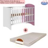 Pachet Patut Hubners Anne alb-roz cu Saltea Cocos Confort II 120x60x8 cm