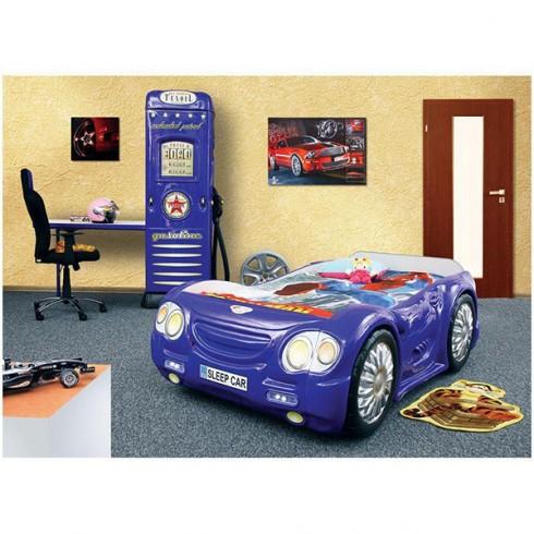 Patut Plastiko Sleep Car cu Dulap Petrol Station albastru