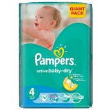 Scutece Pampers active baby-dry 4 maxi giant pack 76 buc pentru 7-14 kg