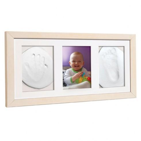 Kit mulaj amprenta Baby HandPrint Double Memory Frame natur