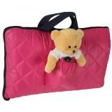 Sac de dormit camping Tuloko cu ursulet de plus roz