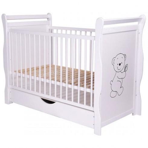 Patut copii din lemn Babyneeds Jas Ursulet 120x60 cm alb cu sertar