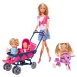 Papusa Simba Steffi Love 29 cm Baby World cu 2 copii, 1 bebelus si accesorii