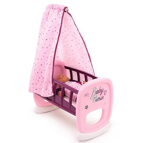Leagan pentru papusa Smoby Baby Nurse roz mov cu baldachin {WWWWWproduct_manufacturerWWWWW}ZZZZZ]