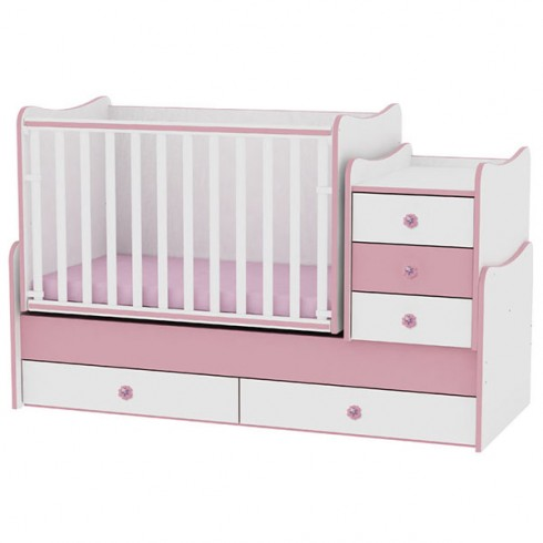 Patut transformabil Bertoni - Lorelli Maxi Plus white & pink 2015
