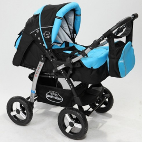 Carucior Baby Merc Junior 2 in 1 black turqoise