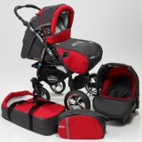 Carucior Baby Merc Junior Plus 3 in 1 Charchoal grey red