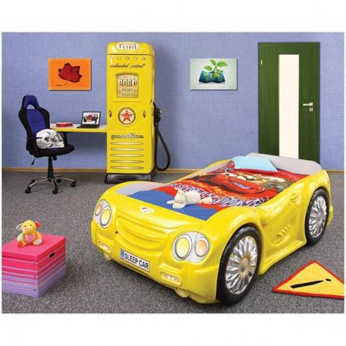 Patut Plastiko Sleep Car cu Dulap Petrol Station galben