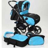 Carucior Baby Merc Junior Plus 2 in 1 Black turqoise