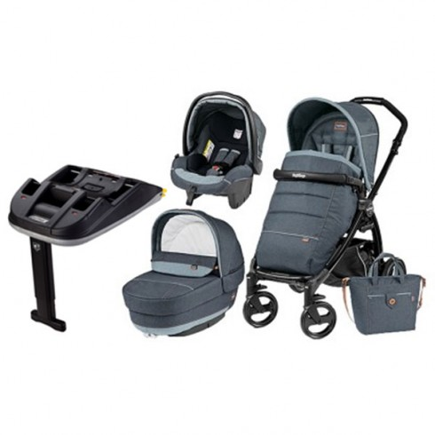 Pachet Carucior Peg Perego Book Plus 51 Black Completo Elite 3 in 1 blue denim cu Baza Isofix