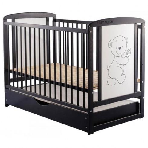 Patut copii din lemn Babyneeds Timmi 120x60 cm venghe cu sertar