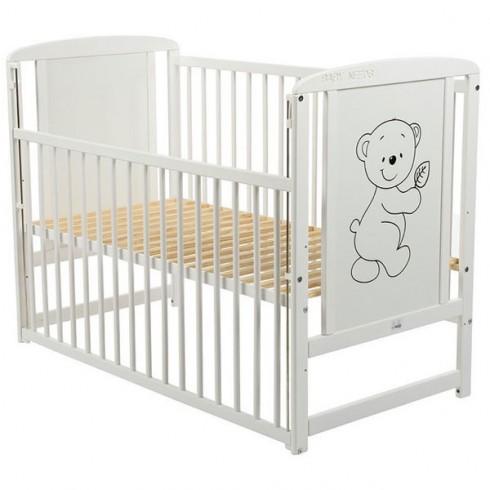 Patut copii din lemn Babyneeds Timmi 120x60 cm cu laterala culisabila alb