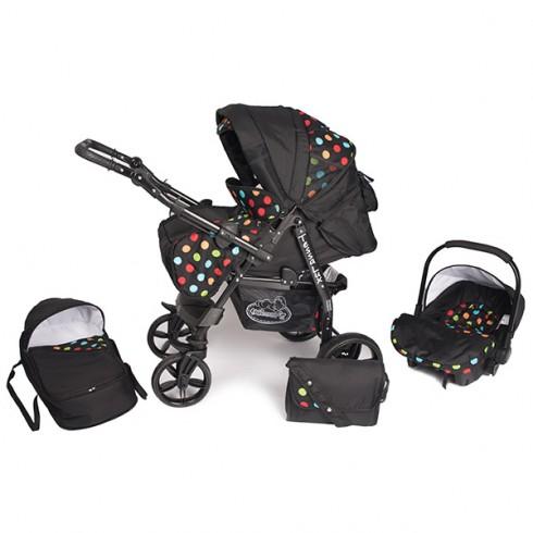 Carucior Hubners Tessa Lux 3 in 1 negru cu buline colorate {WWWWWproduct_manufacturerWWWWW}ZZZZZ]