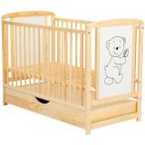 Patut copii din lemn Babyneeds Timmi 120x60 cm natur cu sertar