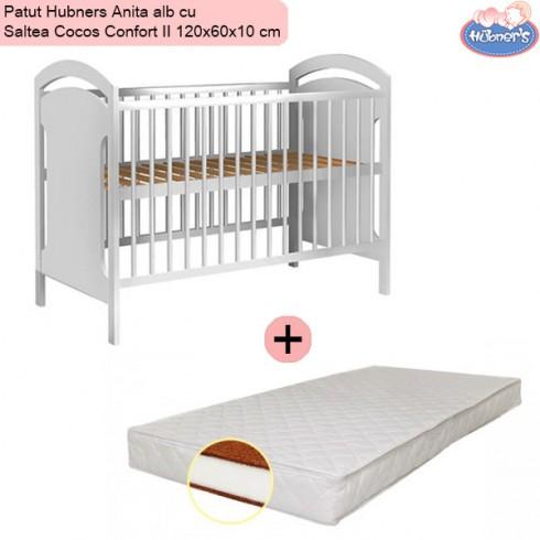 Pachet Patut Hubners Anita alb cu Saltea Cocos Confort II 120x60x10 cm
