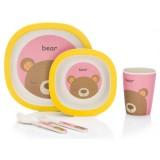 Set pentru luat masa Fillikid Bambus 4 piese pink  yellow