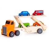 Camion din lemn Ecotoys 2243 Lora cu 4 masini