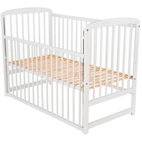 Patut copii din lemn Babyneeds Ola 120x60 cm alb cu laterala culisabila