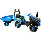 Tractor Super Plastic Toys Mega Farm cu remorca blue