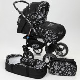 Carucior Baby Merc Junior Plus 2 in 1 Black flowers