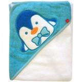 Prosop cu gluga Bobobaby 76x76 cm pinguin alb