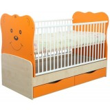 Patut transformabil Mykids Teddy natur orange 4837 cu leganare
