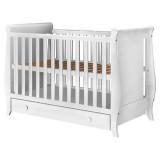 Resigilat: Patut copii din lemn Hubners Mira 120x60 cm alb cu sertar