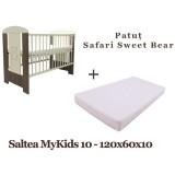 Patut Klups Safari Sweet Bear si Saltea MyKids Basic II 120x60x10 cm