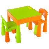 Set Masuta cu 2 scaune Tega Mamut portocaliu verde