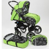 Carucior Baby Merc Junior Plus 2 in 1 Green flowers