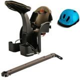 Set Scaun de bicicleta WeeRide Deluxe si Casca protectie Flames albastru