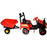 Tractor Super Plastic Toys Mega Farm cu remorca red