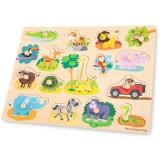 Puzzle din lemn New Classic Toys Safari 17 piese