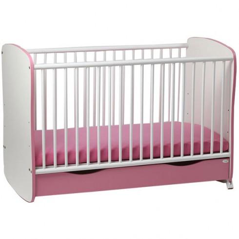 Patut copii Mykids Serena roz alb 7699 cu sertar si leganare