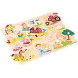 Puzzle din lemn New Classic Toys Ferma 17 piese