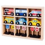 Set masinute si indicatoare rutiere Ecotoys din lemn
