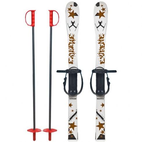Skiuri copii Marmat 90 cm Alb