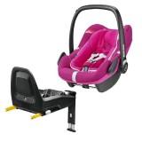 Pachet Scaun auto Maxi Cosi Pebble Plus I-Size frequency pink cu baza auto 2wayFix