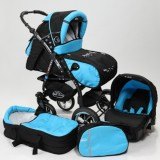 Carucior Baby Merc Junior Plus 3 in 1 Black turqoise
